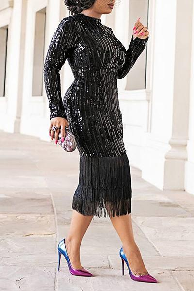 Elegant Long Sleeve Round Neck Patchwork Tassels Sequins Dress