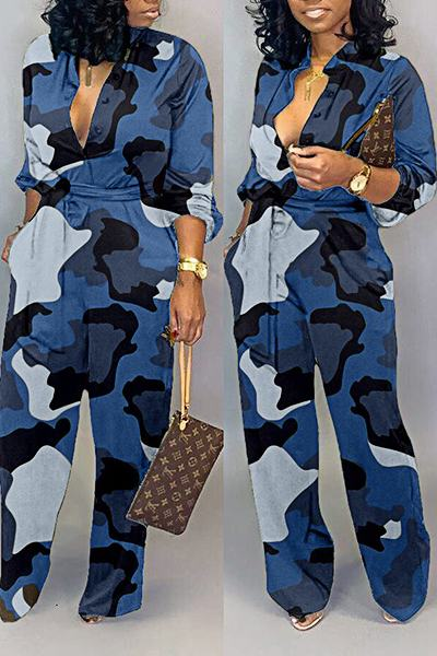 Flirty Long Sleeve Mandarin Collar CamouflageJumpsuit  With Belt