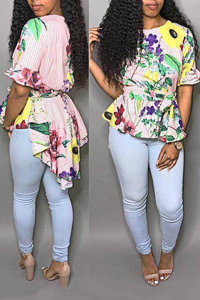 Striking Ruffle Sleeve Round Neck Flower Print Multi-Length T-Shirt