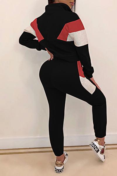 Sporty Cuff Sleeve High Neck Color Block Two Piece Set