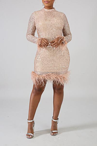 Glittery Long Sleeve Turtle Neck Patchwork Feather Sequins Dress
