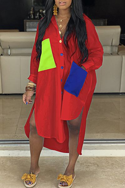 Rocking Long Sleeve Shirt Collar Patchwork Pockets Multi-Length Dress