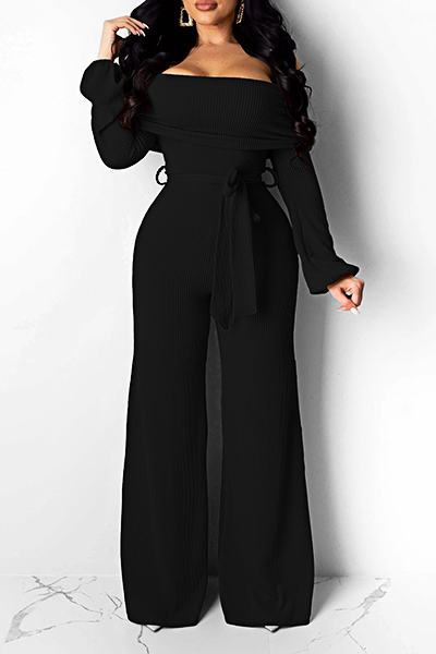 Dramatic High Waist Off Shoulder Solid Color Long Jumpsuit With Belt
