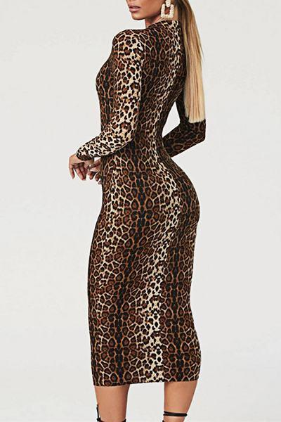 Chic Long Sleeve Crew Neck Leopard Print Bodycon Dress