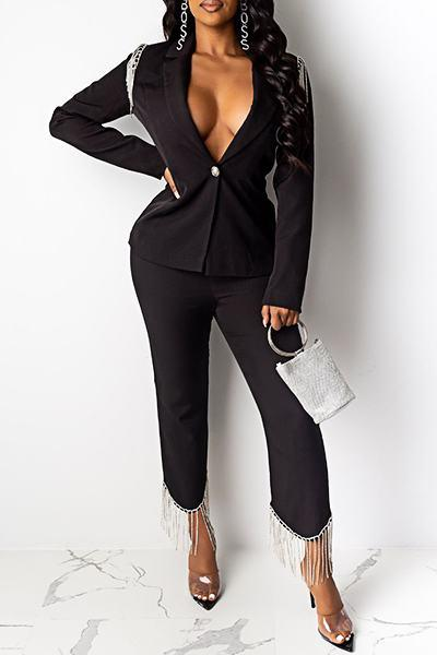 On-trend Long Sleeve Peter Pan Collar Patchwork Tassels Suit Set
