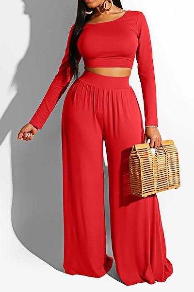 Classic Long Sleeve Off Shoulder Solid Color Long Two Piece Set