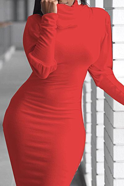 Elegant Puff Sleeve Cowl Neck Solid Color Bodycon Dress