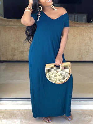 Slouchy Solid Maxi Dress