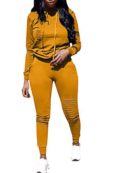 Casual Long Sleeve Hooded Top & Distressed Pants Set