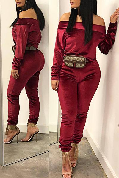 Luxe Long Sleeve Off Shoulder Plain Corduroy Two Piece Set