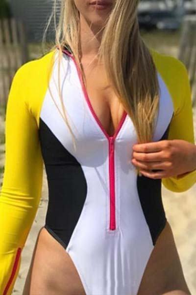Long Sleeve Zipper Front Color Block Swimsuit Bathing Suit