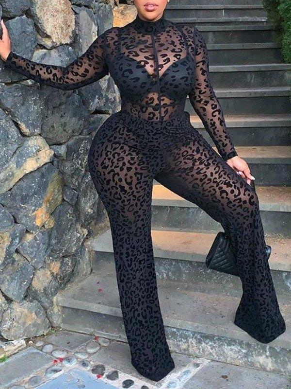 Leopard Sheer Jumpsuit