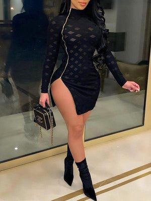 Sheer Combo Zip Dress
