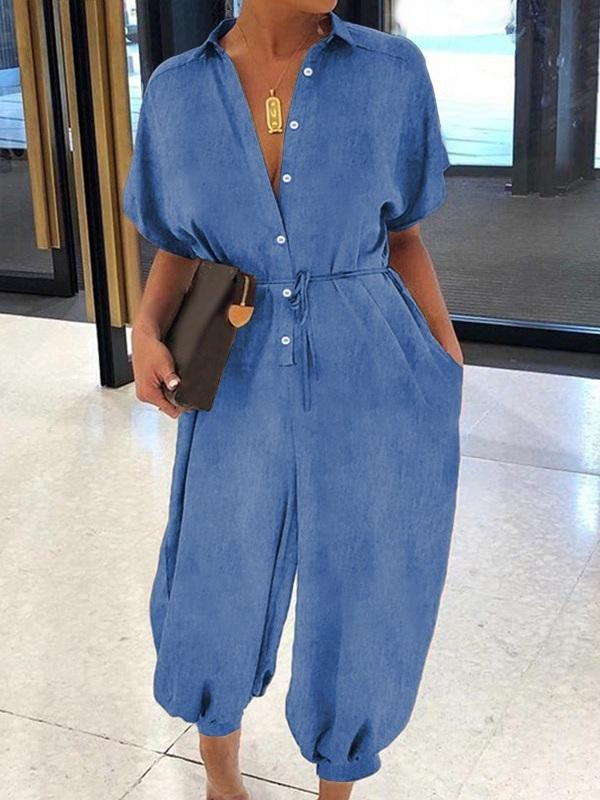 Button-Front Belted Denim Jumpsuit