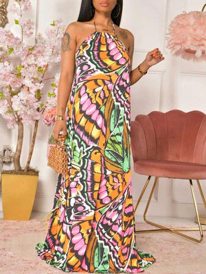 Printed Halter Maxi Dress