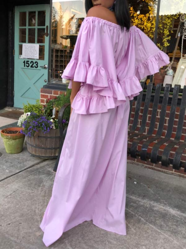 Off-Shoulder Bell-Sleeve Maxi Dress