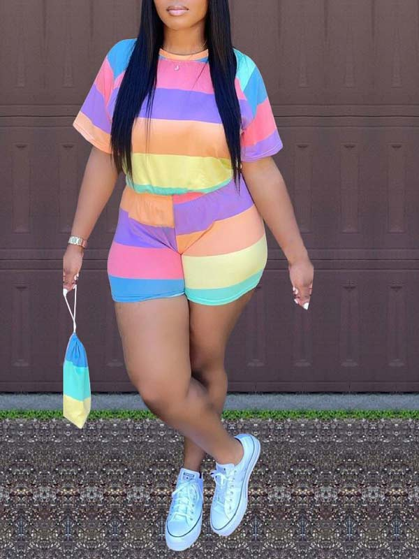 Rainbow Tee & Shorts Set