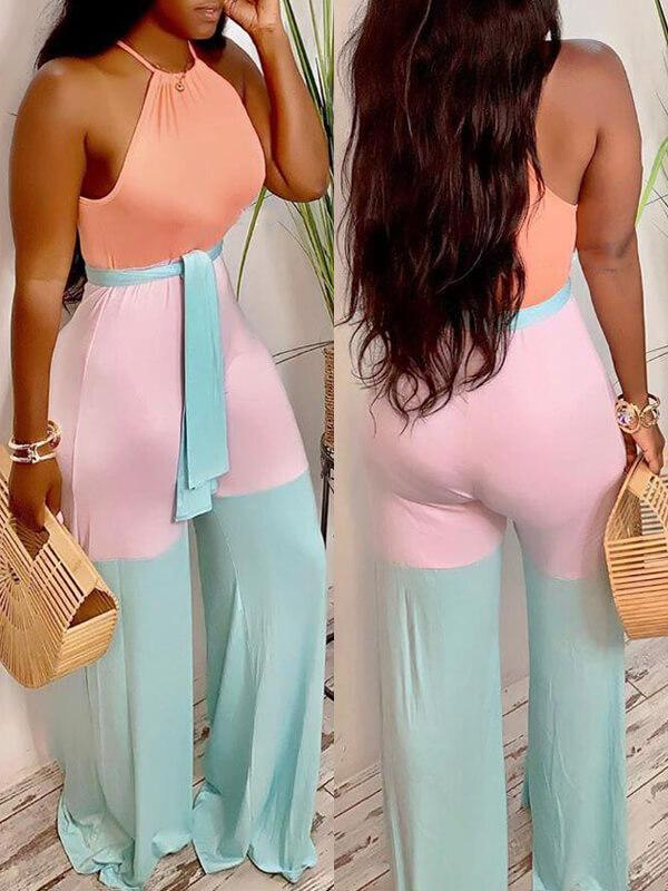 Three-Tone Halter Jumpsuit