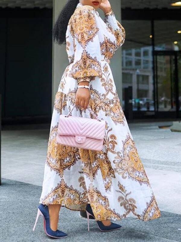 Print Puff-Sleeve Duster Dress