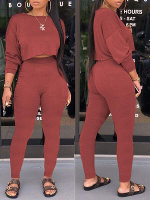 Solid Sweatshirt & Pants Set