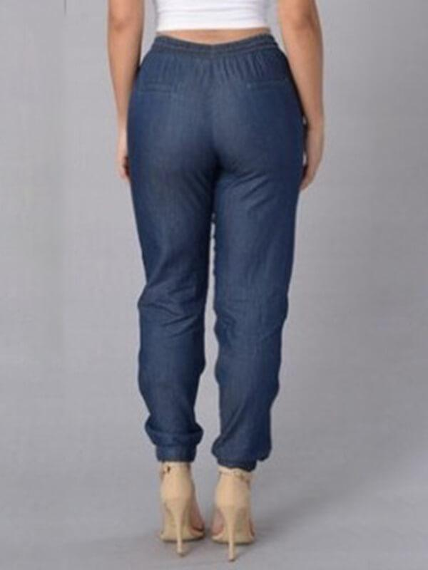 """Denim"" Style Drawstring Jogger Pants"