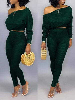 Off-Shoulder Ribbed Top & Pants Set