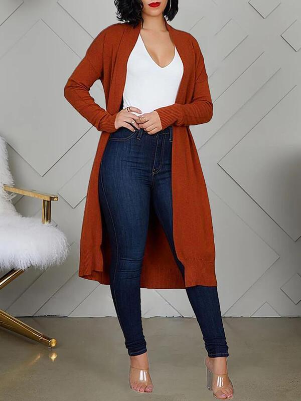 Solid Cardigan With Belt