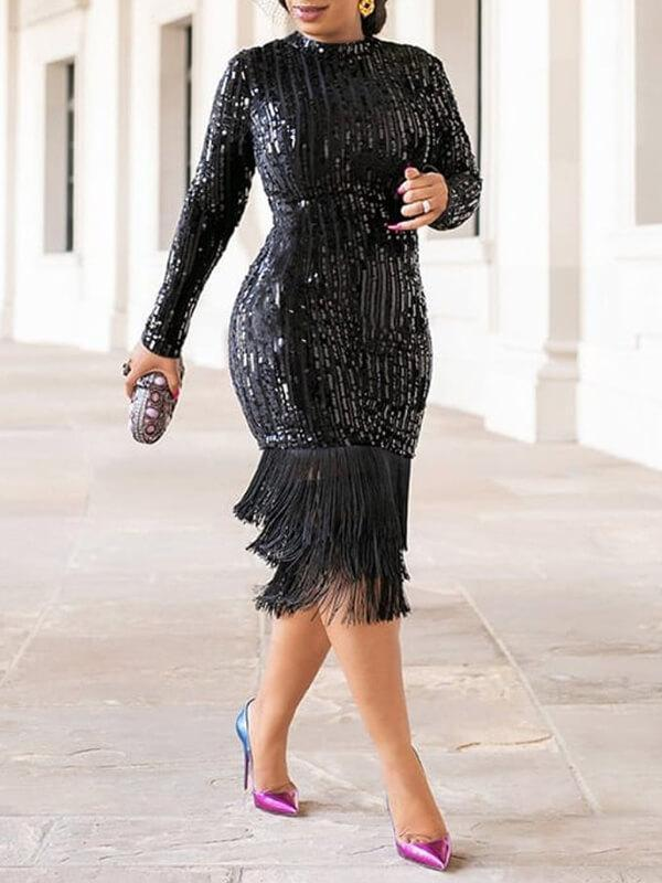 Fringe Combo Sequin Dress