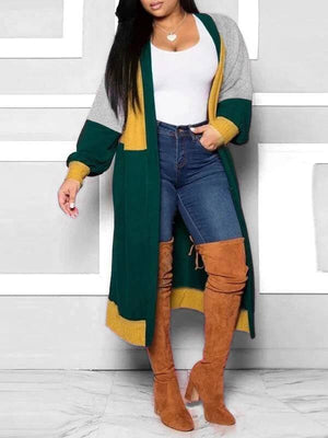 Colorblock Open-front Cardigan