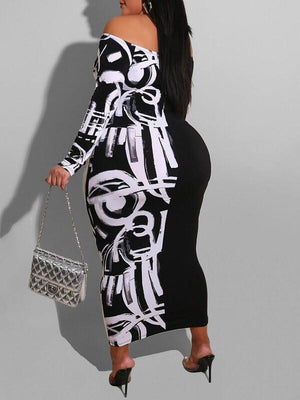 Print-Combo Off-Shoulder Dress
