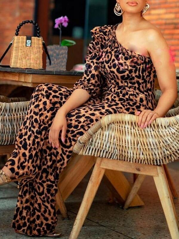 Leopard One-Shoulder Jumpsuit