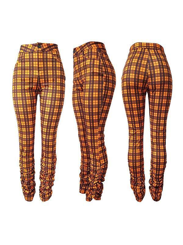 Plaid Ruched Pants