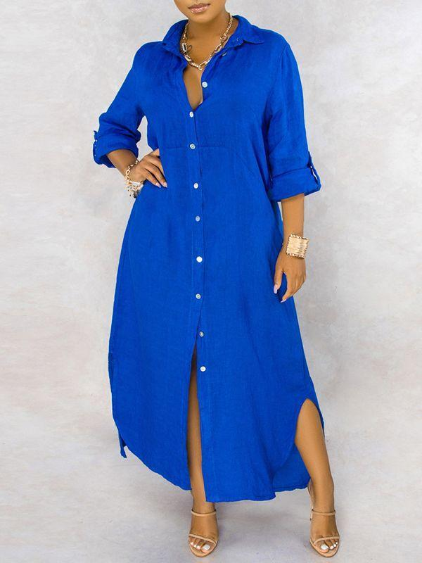 Solid Button-Down Shirt Dress