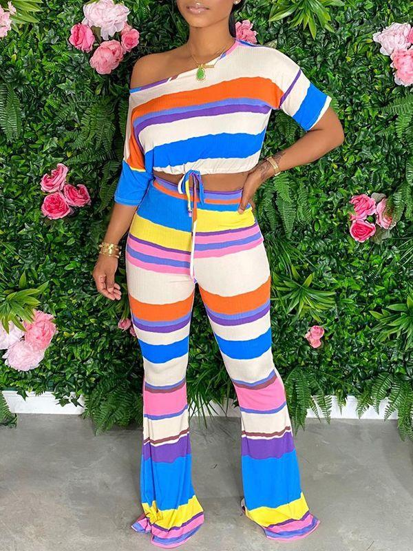 Colorblock Crop Top & Pants Set