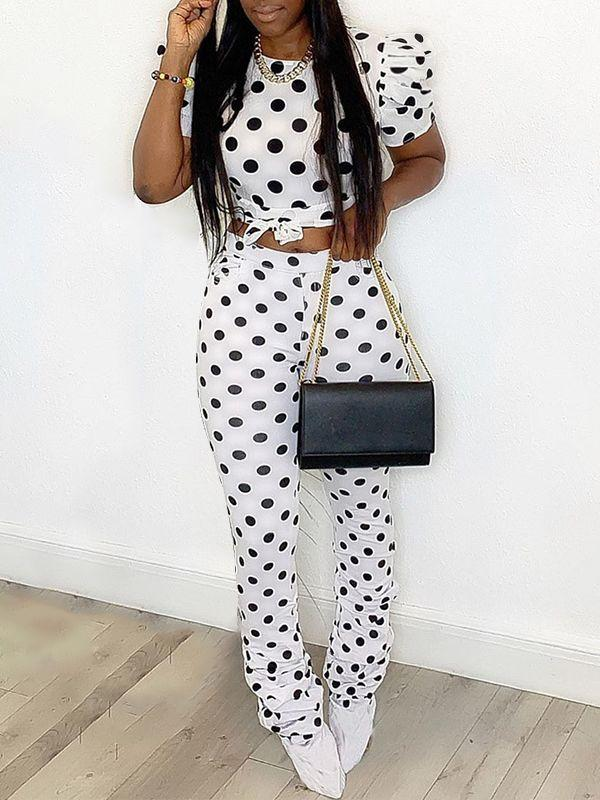 Dot Tied Top & Ruched Pants Set