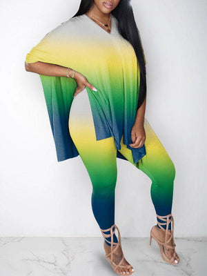 Gradient Slit Top & Leggings Set