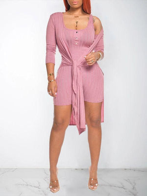 Ribbed Romper & Cardigan Set