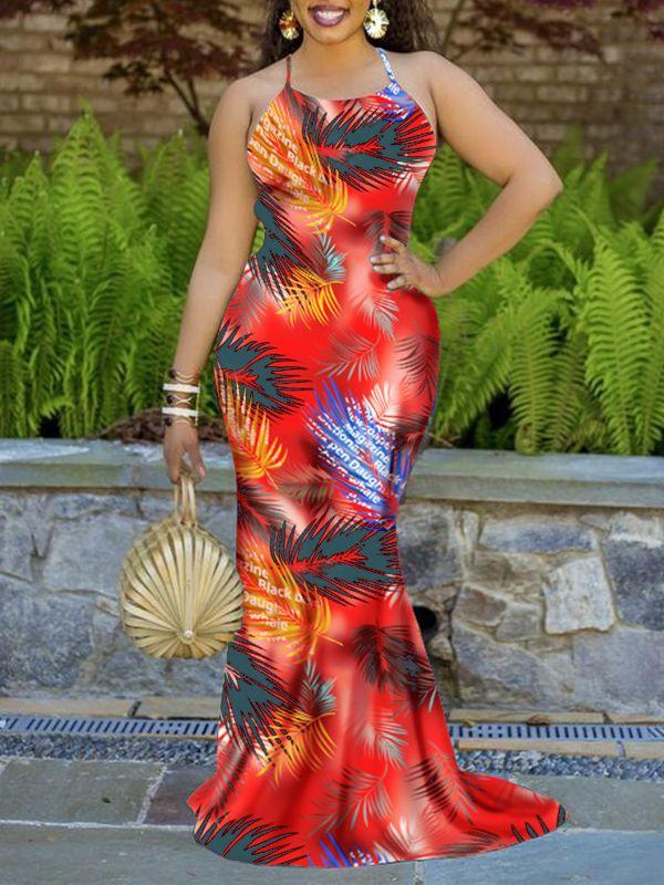 Palm Printed Lacing Back Maxi Dress