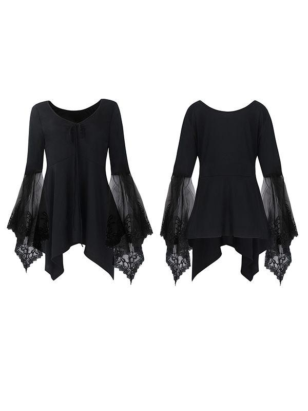 Lace Combo Asymmetric Top