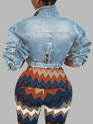 Belted Cropped Denim Jacket
