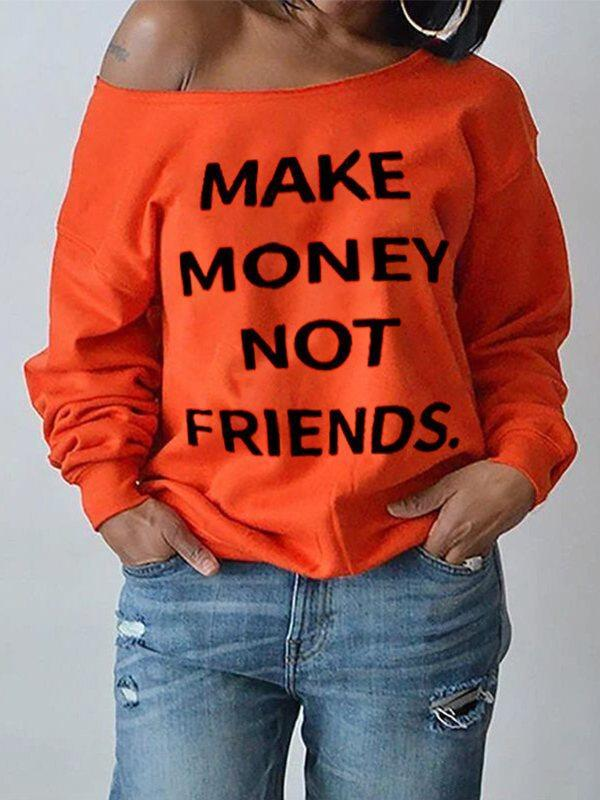 Slogan Boat-Neck Sweatshirt