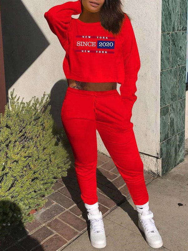 Slogan Sweatshirt & Drawstring Pants Set