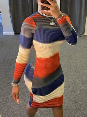 Colorblock Ribbed Dress