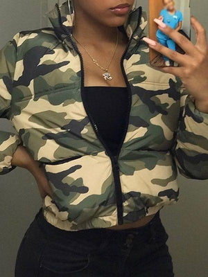Camo Zip-Up Puffer Coat