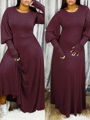 Puff-Sleeve Maxi Dress