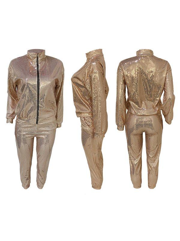 Sequin Zip-Front Jacket & Pants Set