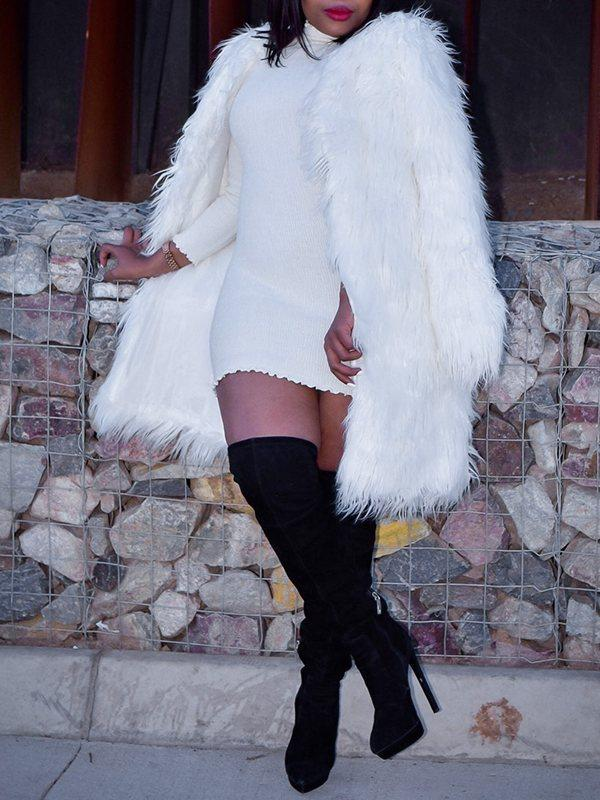 Fuzzy Faux-Fur Coat