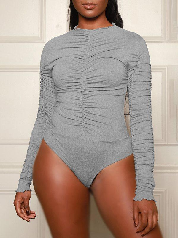 Solid Ruched Bodysuit
