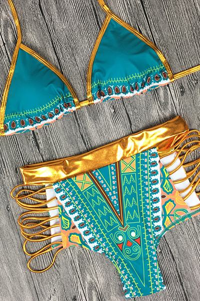 Colorful High Waist Halter Neck Regular Bikini