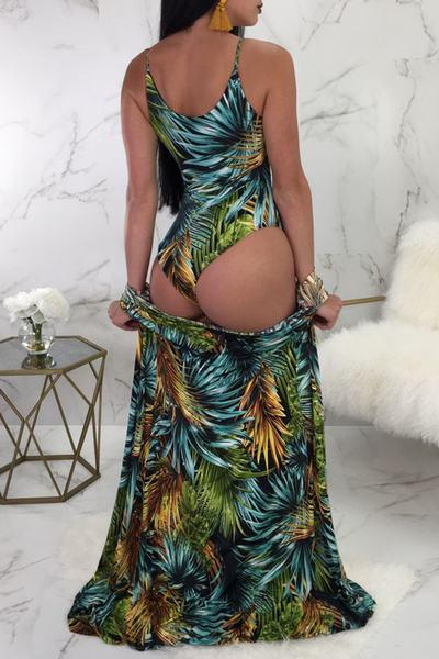 Wild High Leg Scoop Neck One Piece Swimsuit & Cover Up Beachwear Robe